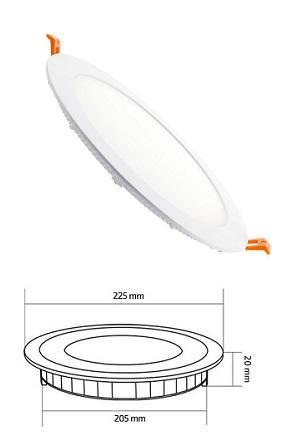 Pannello LED Incasso Ultrapiatto Diam. Foro 210 mm 18w Luce Natura 1500 Lumen