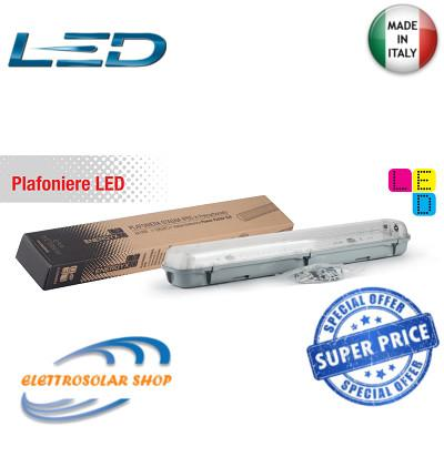 Plafoniera Stagna 2x18w Con Neon LED Luce 6500k V-TAC