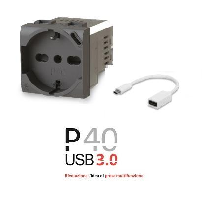 Presa Schuko con USB 3.0 P40 Vimar