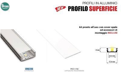 Profilo Alluminio Piatto 2mt completo di cover Opaca, Tappi e Clip Century KPRS-1708