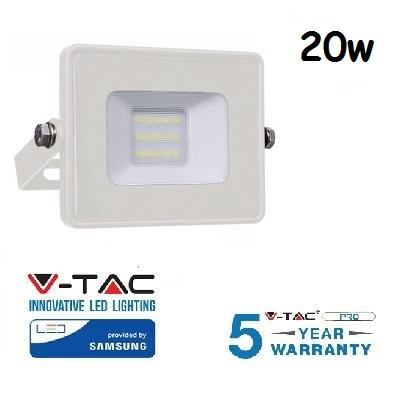 Proiettore Led 20W Luce Calda Bianco SLIM 1600 Lumen PRO V-TAC