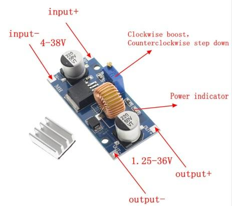 step-down DC-DC 5A IN 4-38 Vdc Out 1,25-36 Vdc