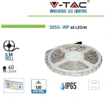 Strip LED 5050 IP65 60 Led/mt 10,8w/mt Luce Calda V-TAC
