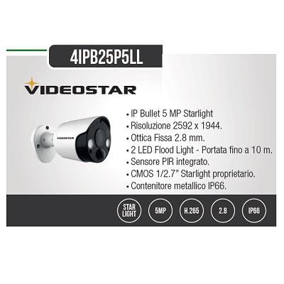 Telecamera IP Bullet 5 Megapixel 2,8mm Starlight Bianco Videostar
