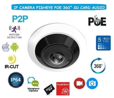 Telecamera IP Fisheye 1.1mm 5Mp H265 POE Videostar 4IPFD53P5