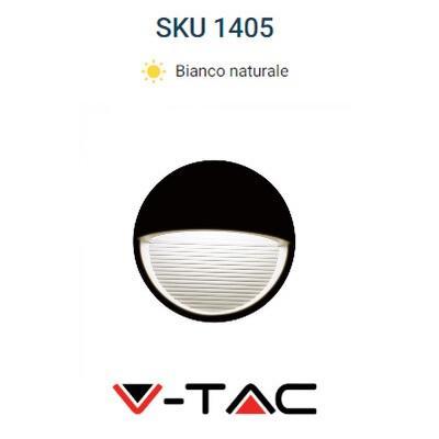 Segnapasso LED 3w Luce Natura Tondo Nero IP65 V-TAC 1405