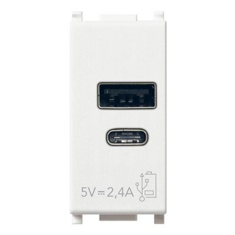 Presa USB A+C 5V 2,4A 1M bianco Vimar