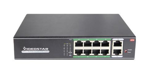 Switch 8 Porte POE 10/100 + 2 Uplink Videostar