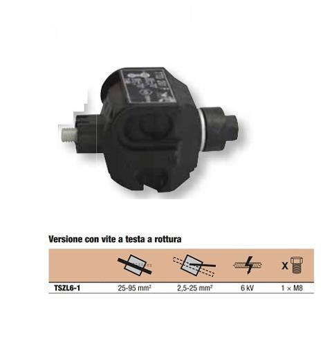 Morsetto ENEL a Perforazione Isolato Passante 25-95 / 2,5-25mm TRACON