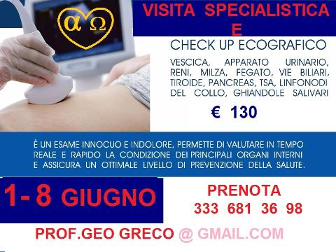 1- 8   GIUGNO   CHECK - UP   ECOGRAFICO   TOTAL   BODY