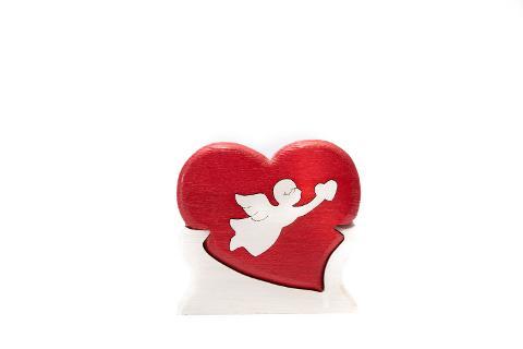 Cupido in legno cuore