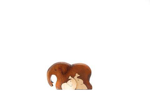 Elefantino in legno con 2 cuccioli