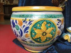 Cachepot in ceramica con disegno geometrico blu e verde diam.38 Laura Buzzetta ceramica arredo