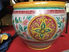 Cachepot in ceramica con disegno geometrico rosso verde diam.38 Laura Buzzetta ceramica arredo