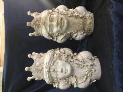 Teste di Moro-Normanne bianche altezza 35cm con applicazioni di frutta Laura Buzzetta  Siciliano