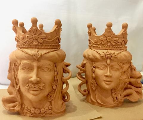 Teste di moro terracotta Laura Buzzetta  terracotta