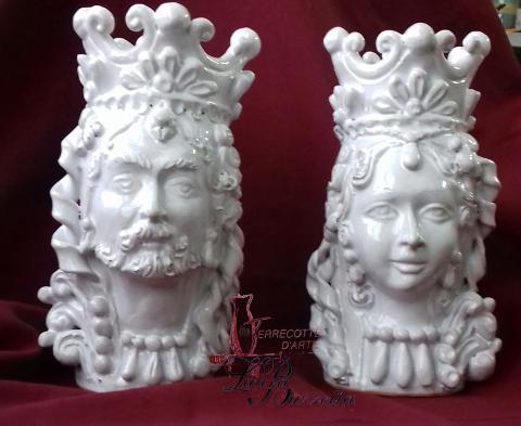 Teste Normanne ceramica bianca  h. 18 cm Laura Buzzetta sicilia