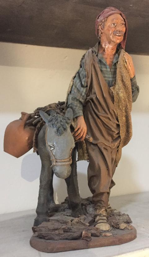 Pastore con Asino - altezza 25cm- Personaggi presepe Laura Buzzetta terracotta e stoffa