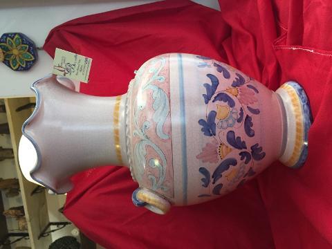 Vaso elegante con manici alt.41 cm Laura Buzzetta Ceramica