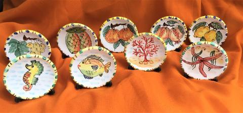 Bomboniera Piattino decorato-personalizzato, diametro 9 cm Laura Buzzetta Sicilia