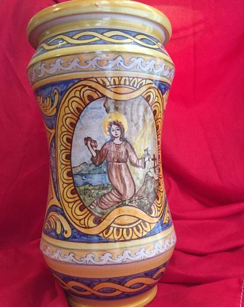 Albarello in ceramica alt. 28 cm con Santa Rosalia  Laura Buzzetta ceramica arredo