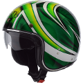 RIOT TURTLE GREEN  AIROH CASCO VINTAGE IN FIBRE COMPOSITE