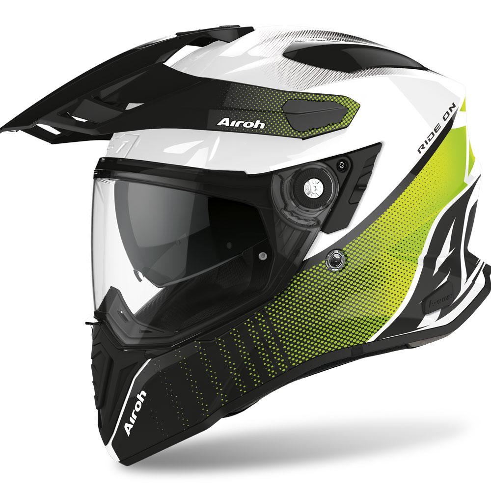 COMMANDER CASCO HELMET ON-OFF SPORT-TOURING-ADVENTURE AIROH PROGRESS LIME GLOSS