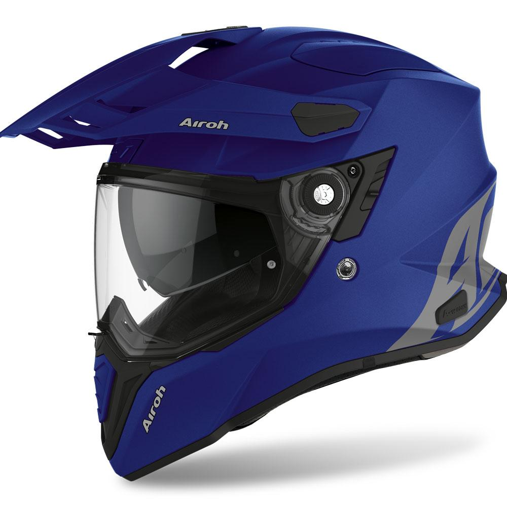 COMMANDER CASCO HELMET ON-OFF SPORT-TOURING-ADVENTURE AIROH BLUE MATT