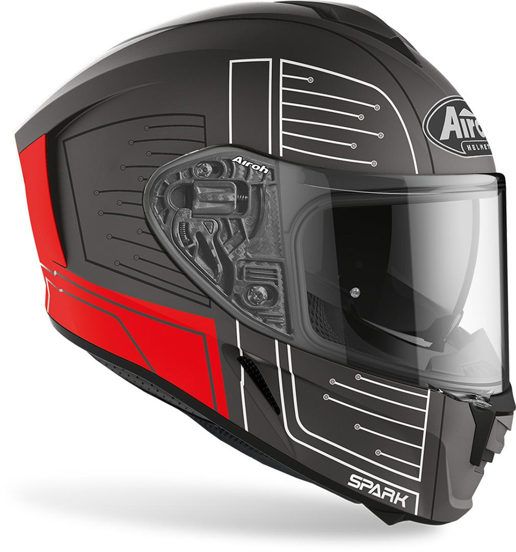 SPARK  CYRCUIT  BLACK/ RED  AIROH Casco  full-face in HRT (High Resistant Thermoplastic
