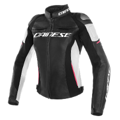 RACING 3 LADY LEATHER JACKET Dainese Black/White/Fuchsia