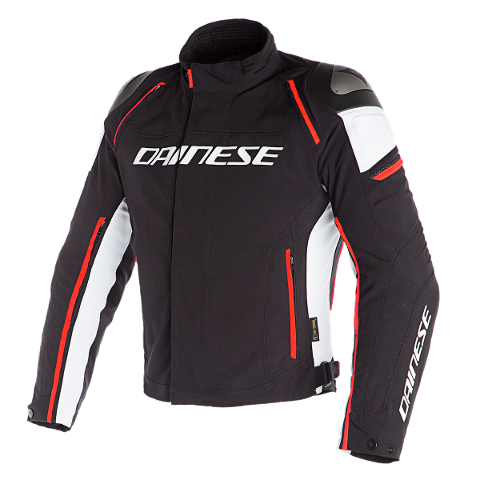 RACING 3 D-DRY - GIUBBOTTO MOTO SPORT Dainese BLACK/WHITE/FLUO-RED