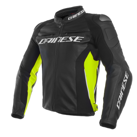 RACING 3 LEATHER - GIUBBOTTO MOTO SPORT IN PELLE E TESSUTO BIELASTICO Dainese BLACK/BLACK/FLUO-YELLOW