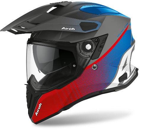COMMANDER CASCO HELMET ON-OFF SPORT-TOURING-ADVENTURE AIROH PROGRESS BLUE/RED-MATT