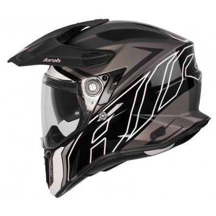 COMMANDER CASCO HELMET ON-OFF SPORT-TOURING-ADVENTURE AIROH DUO BLACK MATT/GLOSS