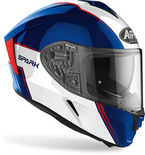 SPARK  FLOW  BLU/RED GLOSS AIROH Casco  full-face in HRT (High Resistant Thermoplastic
