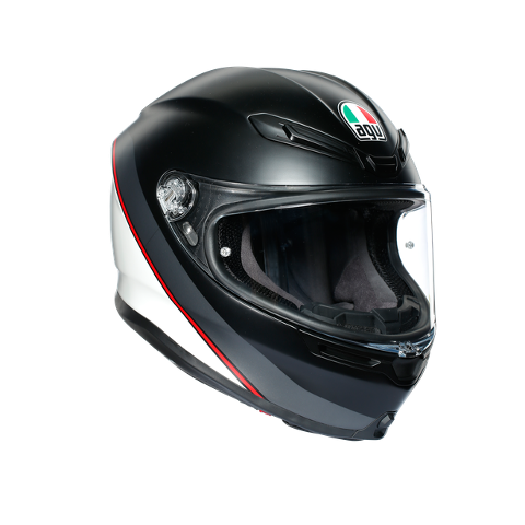 K6 E2205 MULTI AGV MINIMAL PURE MATT BLACK/WHITE/RED