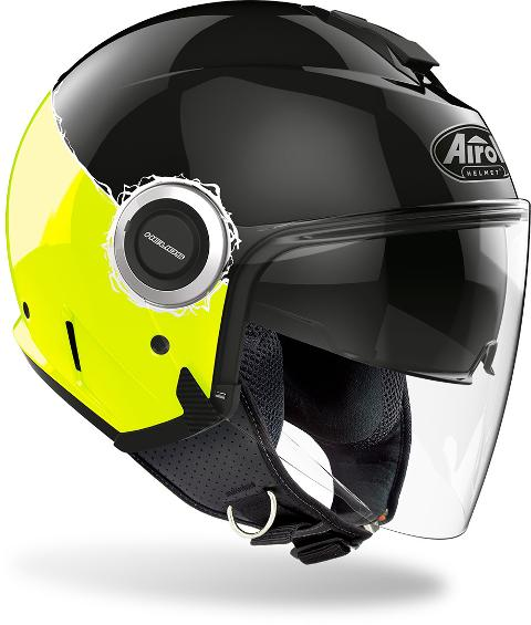 HELIOS YELLOW GLOSS FLUO   AIROH CASCO JET IN TERMOPLASTICA