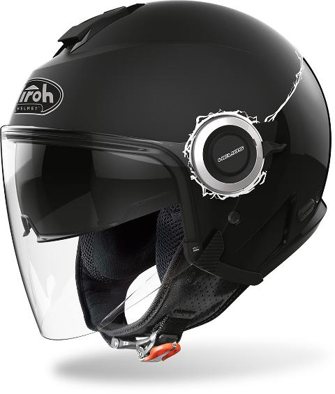 HELIOS BLACK GLOSS FLUO AIROH CASCO JET IN TERMOPLASTICA