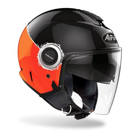 HELIOS ORANGE GLOSS FLUO AIROH CASCO JET IN TERMOPLASTICA