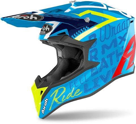 AIROH WRAAP STREET AZURE MOTOCROSS AIROH Casco off-road - cross in resina termoplastica