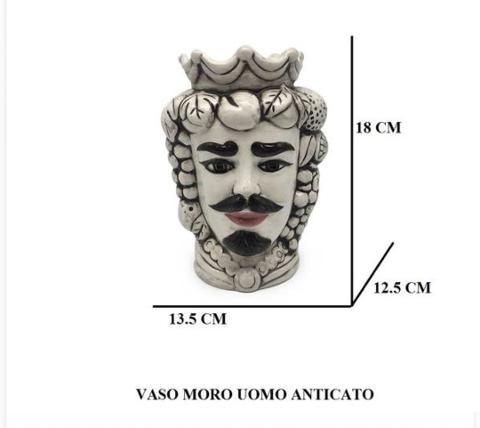 Vaso Decorativo Testa Di Moro Uomo H 18cm  cod.963889