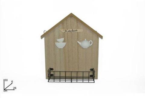 Mensola in legno e metallo porta oggetti forma a casa  Cod.497685