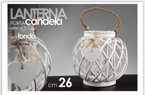 Lanterna porta candela intreccio bambu bianca  cod. 671104