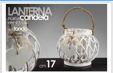 Lanterna porta candela intreccio bambu bianca  cod. 671074