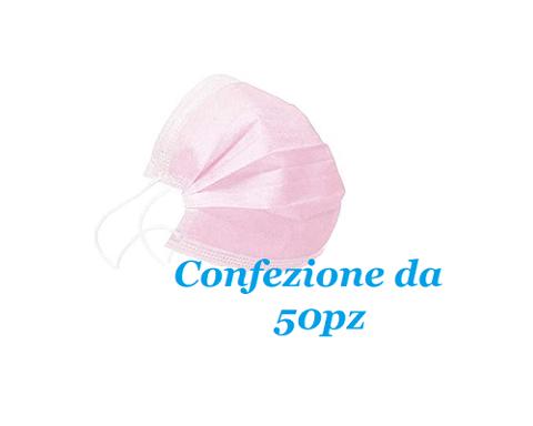 MASCHERINA CHIRUGICA ROSA TIPO II - FILTRAZIONE 98% - CONF 50PZ APC MASK2