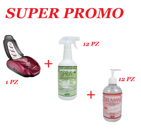 PROMO -DISPENSER AUTOMATICO COPRISCARPE+12 GEL MANI +12 SPRAY SUPERFICIE VIROSHOES *