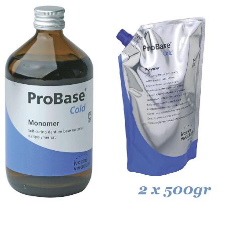 RESINA AUTOPOLIMERIZZANTE PROBASE COLD KIT:  POLVERE 1 Kg (2x500 g) -  LIQUIDO 1000 ml