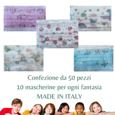 CONFEZIONE 5 FANTASIE MASCHERINE CHIRURGICHE BAMBINI MADE IN ITALY  50 PEZZI