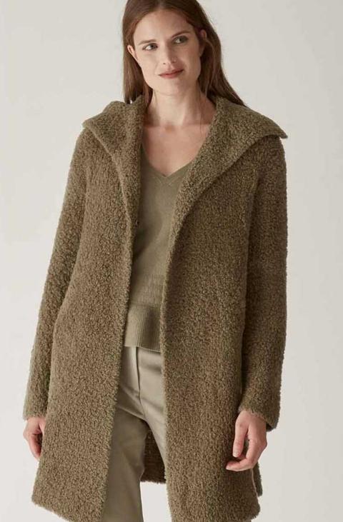 Giaccone in lana bouclé color verde salvia  ELENA MIRO' Collezione 2021/22