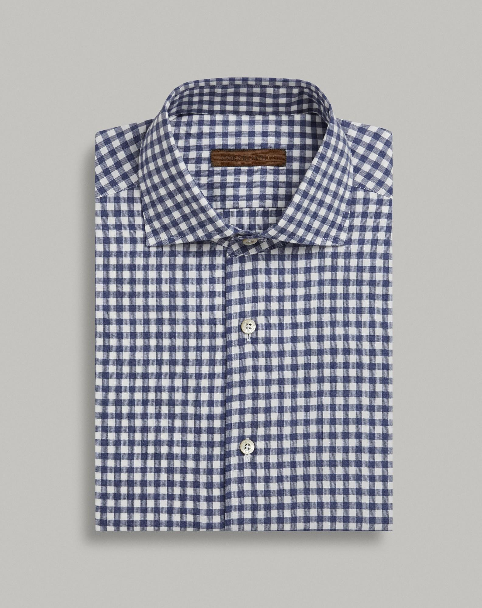 CAMICIA IN COTONE SUPERLIGHT QUADRETTO BLU MELANGE Corneliani Camicia